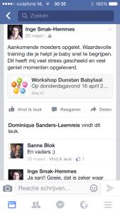 Reactie op Facebook
